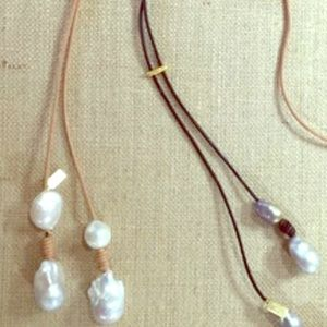 Jewelry - Signed Genuine Pearl Lariat Necklace